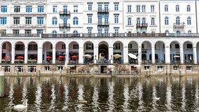 Exterior view of the Alsterarkaden and the lake Kleine Alster in Royalty Free Stock Photo
