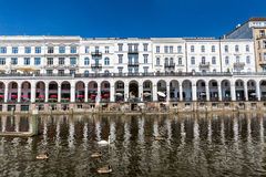 Exterior view of the Alsterarkaden and the lake Kleine Alster in Royalty Free Stock Photos