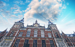 Exterior view of Amsterdam central railway station Royalty Free Stock Photos