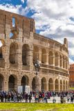 Exterior view of the ancient Roman Colloseum in Rome royalty free stock images