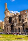 Exterior view of the ancient Roman Colloseum in Rome stock photography