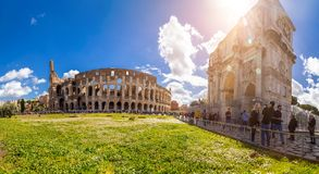 Exterior view of the ancient Roman Colloseum in Rome stock photos