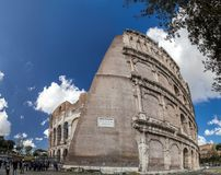Exterior view of the ancient Roman Colosseum in Rome stock photography