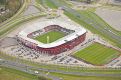 Exterior view of the AZ AFAS Stadion. Alkmaar - The Netherlands, April 15: Exterior view of the AZ AFAS Stadion from above on April 15, 2014 in Alkmaar Royalty Free Stock Photography