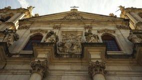 Exterior view of the Basilica da Estrela in Lisbon with Corinthian Columns royalty free stock images