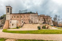 Exterior view of the Basilica of Saint Ubaldo, Gubbio, Italy Stock Images