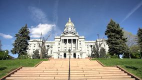 Exterior view of the beautiful and historical Colorado Capitol Building. At Denver, Colorado, United States stock footage
