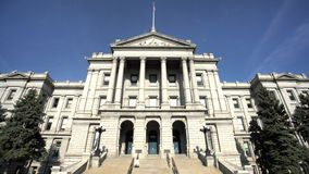Exterior view of the beautiful and historical Colorado Capitol Building stock video footage