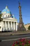 Column of Glory and Trinity Cathedral - St. Petersburg Landmarks Royalty Free Stock Photo