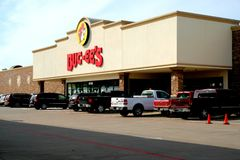 Exterior view of Buc-ees gas station and convenience store in Waller, Texas. royalty free stock images