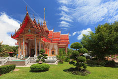 Exterior view of  the Buddhist temple at Wat Chalong or known off Stock Photo