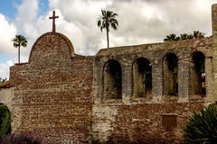 Exterior view of a California Mission. The exterior walls of a California Mission with bells Stock Images