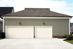 Exterior view of a 3 or 4 car garage Royalty Free Stock Image