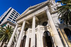 Exterior view of the Cathedral Basilica of St. Joseph, a large R. Oman Catholic church located in Downtown San Jose, south San Francisco bay area, California royalty free stock image