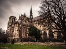 Exterior of Cathedrale Notre Dame, medieval Catholic cathedral. Exterior view of Cathedrale Notre Dame, medieval Catholic cathedral Stock Image