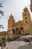 Exterior view of Cefalu Cathedral in the city of the same name. Cefalu,Sicile,Europe-05/06/2018.Exterior view of Cefalu Cathedral in the city of the same name in stock images