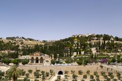 Exterior view of the Church of All Nations or the Basilica of the Agony on the Mount of Olives in Jerusalem. Jerusalem, Israel - June 16, 2018: Exterior view of stock photos