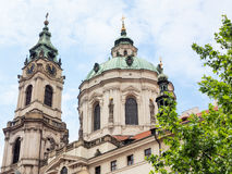 Exterior view of the church St. Nicholas in Prague, Czech Republic Royalty Free Stock Images