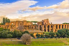 Circus Maximus Exterior View, Rome, Italy. Exterior view of circus maximus, the biggest circus horse racing created by roman empire, is located in a valley royalty free stock image