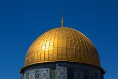 Dome of the Rock, Jerusalem. Exterior view of the Dome of the Rock Al Qubbet As-Sahra in Arabic in the holy site of the Old City in Jerusalem, Israel stock photos