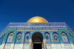 Dome of the Rock, Jerusalem. Exterior view of the Dome of the Rock Al Qubbet As-Sahra in Arabic in the holy site of the Old City in Jerusalem, Israel royalty free stock image