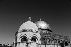 Dome of the Rock, Jerusalem. Exterior view of the Dome of the Rock Al Qubbet As-Sahra in Arabic in the holy site of the Old City in Jerusalem, Israel stock photo