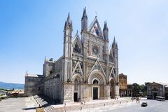 Exterior View of the Cathedral of Orvieto stock photo