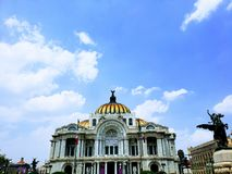 Exterior view of the facade of the Palace of Fine Arts in Mexico City during the day. Exterior view facade palace fine arts mexico city day travel tourism royalty free stock photos