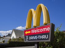 Exterior view of the famous Mcdonald Drive Thru sign. Temple City, MAR 15: Exterior view of the famous Mcdonald Drive Thru sign on MAR 15, 2018 at Temple City Royalty Free Stock Photo