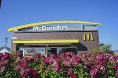 Exterior view of the famous Mcdonald. Temple City, FEB 13: Exterior view of the famous Mcdonald on FEB 13, 2018 at Temple City, Los Angeles County, California Stock Photography
