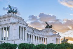 Vittorio Emanuele Monument, Rome, Italy. Exterior view of famous Vittorio Emanuele II monument conmemoraty building located in center of Rome, Italy Royalty Free Stock Photography