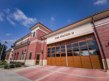 Exterior view of fire department. Los Angeles, APR 2: Exterior view of fire department on APR 2, 2019 at Los Angeles, California stock photography