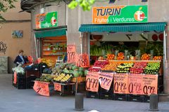 Exterior view of a fruit and vegetable shop royalty free stock photo