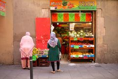 Exterior view of a fruit and vegetable shop stock photos