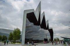 Exterior view of the Glasgow Riverside Museum, Scotland. The Riverside Museum next to the River Clyde in Glasgow, Scotland, 10th July 2017 Royalty Free Stock Photography