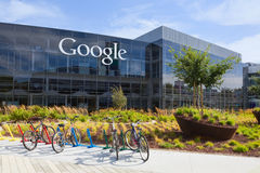 Exterior view of a Google headquarters building. MOUNTAIN VIEW, CA/USA - July 14, 2014: Exterior view of a Google headquarters building. Google is an American Royalty Free Stock Images