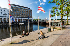 Exterior view of the Hamburg Reesendamm and the Jungfernstieg in. HAMBURG, GERMANY - JUNE 6, 2016: Exterior view of the Hamburg Reesendamm and the Jungfernstieg Stock Photos
