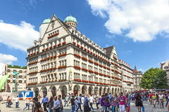 Exterior view of Hirmer, the largest men's fashion house in the Royalty Free Stock Image
