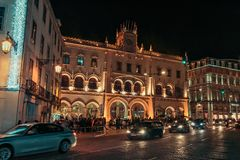Exterior view of the historic Rossio station royalty free stock images
