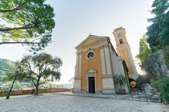 Exterior view of the historical Church of Our Lady of the Assumption of Eze royalty free stock photography