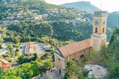 Exterior view of the historical Church of Our Lady of the Assumption of Eze stock photography