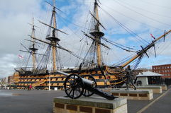Exterior view of the HMS Victory in harbor in Portsmouth, Hampshire, England, United Kingdom stock image