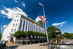 Exterior view of the Hotel Harbour (German: Hotel Hafen) at the. HAMBURG, GERMANY - JUNE 6, 2016: Exterior view of the Hotel Harbour (German: Hotel Hafen) at the Stock Images