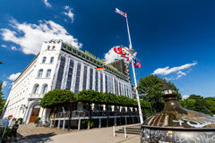 Exterior view of the Hotel Harbour (German: Hotel Hafen) at the. HAMBURG, GERMANY - JUNE 6, 2016: Exterior view of the Hotel Harbour (German: Hotel Hafen) at the Royalty Free Stock Image