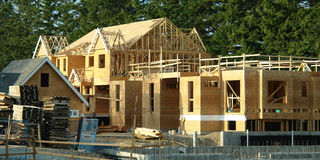 Exterior View Housing Under Construction. New Townhome project under construction Stock Photography