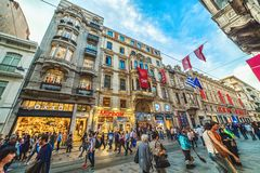 Exterior view of Istiklal Avenue in Beyoglu Istanbul. ISTANBUL, TURKEY: Exterior view of Istiklal Avenue, Beyoglu on April 26 2018 stock images