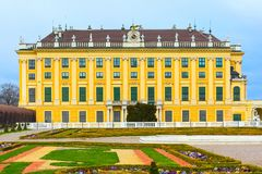 Exterior view of Schonbrunn palace in Vienna, Austria. Exterior view of landmark Schonbrunn palace in Vienna, Austria Royalty Free Stock Photo