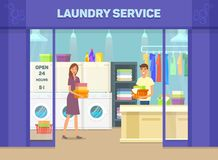 Laundry room facade with man and woman. Exterior view at laundry room. Facade with man and woman doing cloth washing. Self-service laundry with washing machines vector illustration