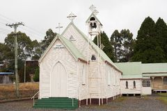 Exterior view of lovely old weatherboard Catholic church. Zeehan, Tasmania, Australia, May 3, 2012: Exterior view of lovely old weatherboard Catholic church in stock photo