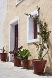 Exterior view of a mediterranean house. Entrance to sunlit mediterranean house with wooden door and shutters, decorated with potted plants Royalty Free Stock Photo